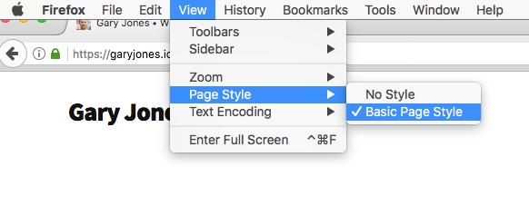 Screenshot showing Firefox Page Style menu item
