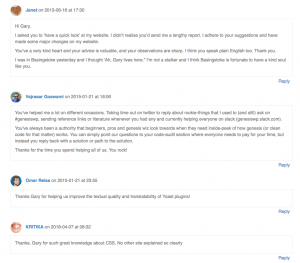 Screenshot from my Who I've Helped page, showing 4 comments thanking me.